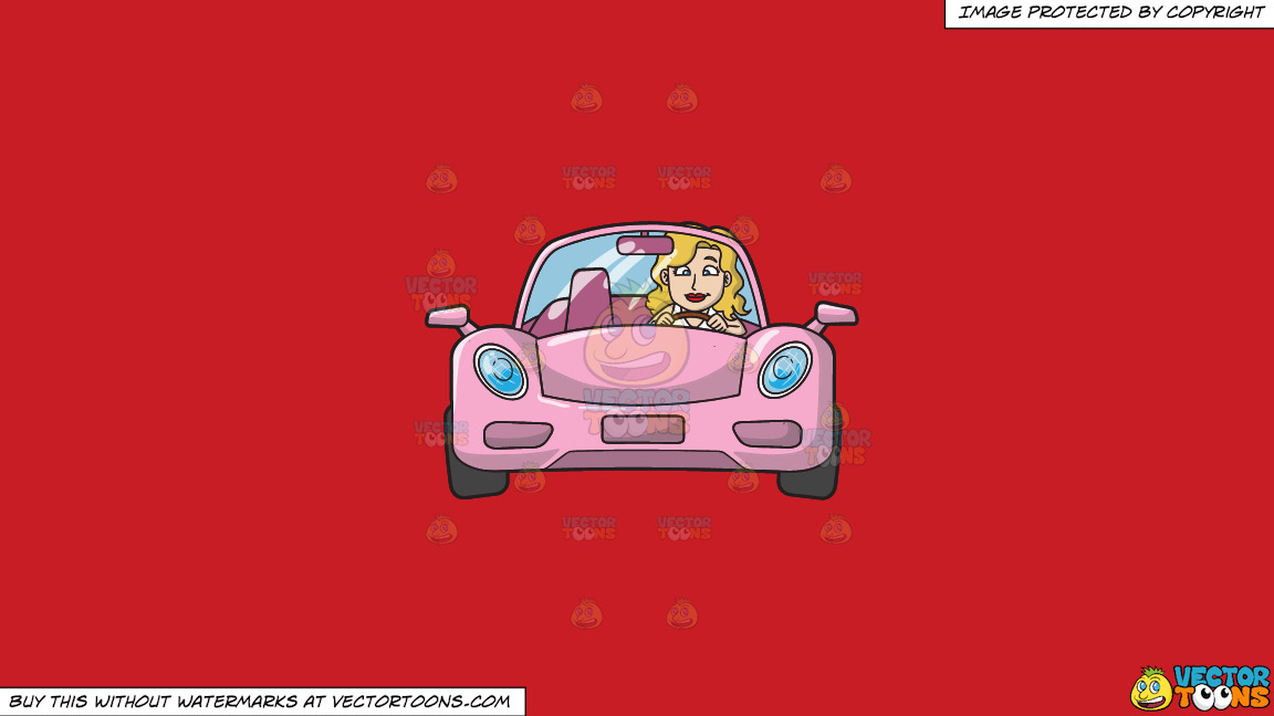A Woman Driving A Chic Pink Sports Car On A Solid Fire Engine Red C81d25 Background thumbnail