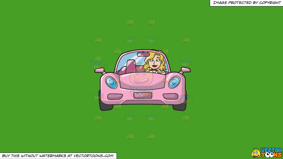 A Woman Driving A Chic Pink Sports Car On A Solid Kelly Green 47a025 Background thumbnail