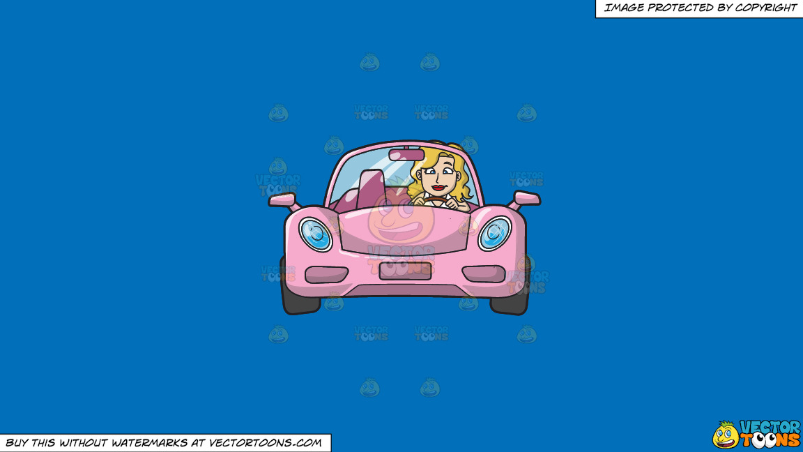 A Woman Driving A Chic Pink Sports Car On A Solid Spanish Blue 016fb9 Background thumbnail