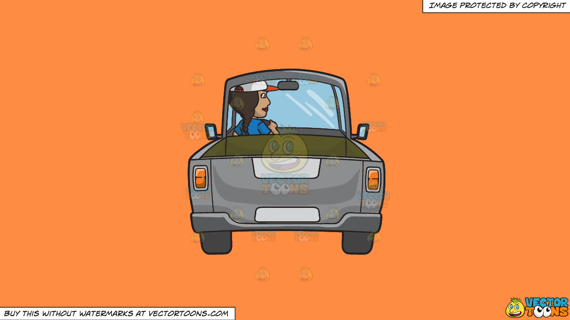 A Woman Driving A Gray Pick Up Truck On A Solid Mango Orange Ff8c42 Background thumbnail