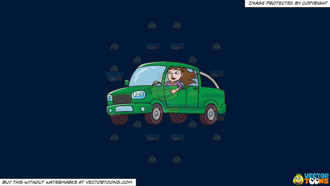 A Woman Driving A Green Pick Up Truck On A Solid Dark Blue 011936 Background thumbnail
