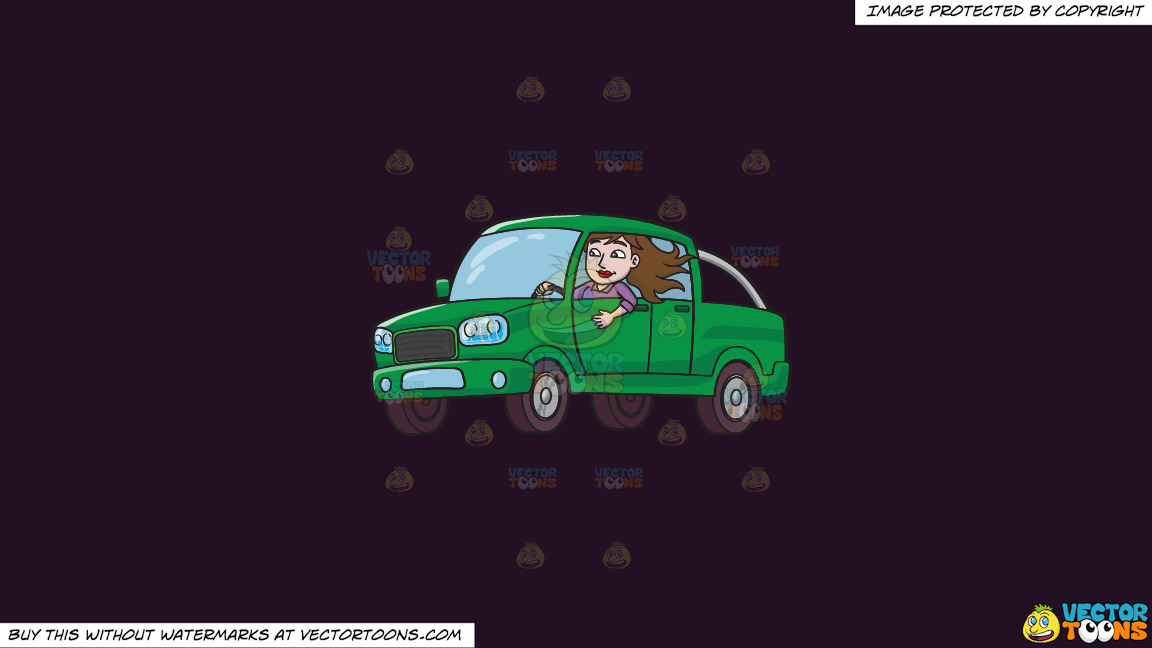 A Woman Driving A Green Pick Up Truck On A Solid Purple Rasin 241023 Background thumbnail