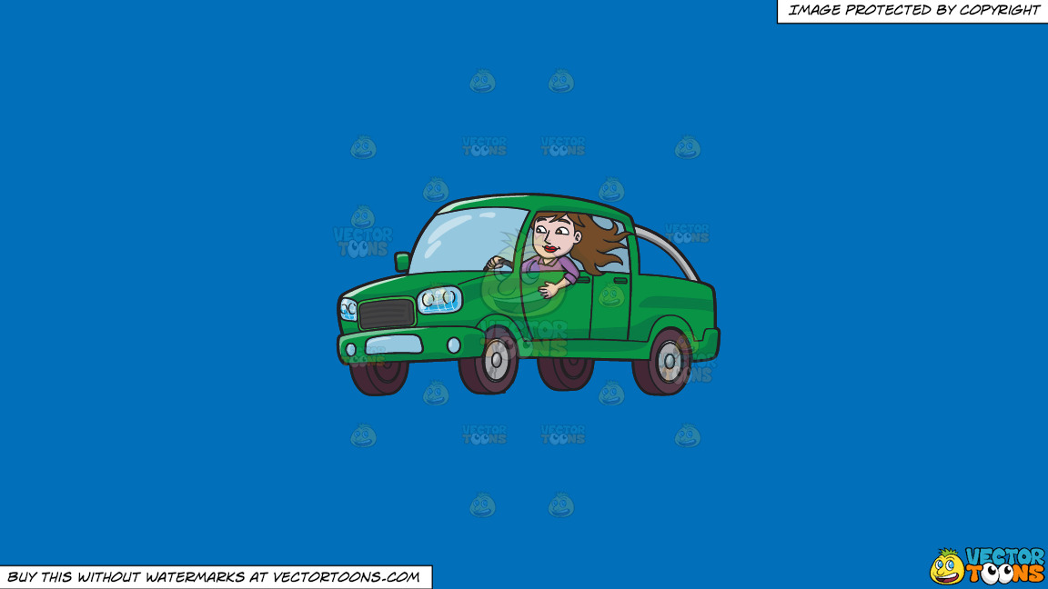 A Woman Driving A Green Pick Up Truck On A Solid Spanish Blue 016fb9 Background thumbnail