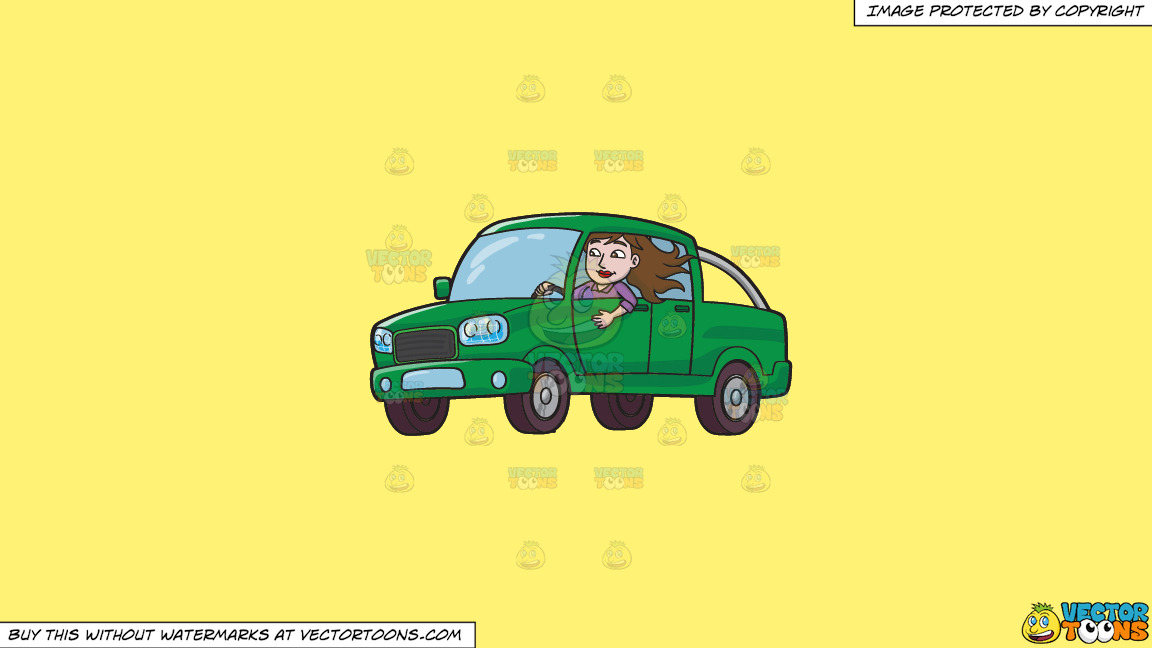 A Woman Driving A Green Pick Up Truck On A Solid Sunny Yellow Fff275 Background thumbnail