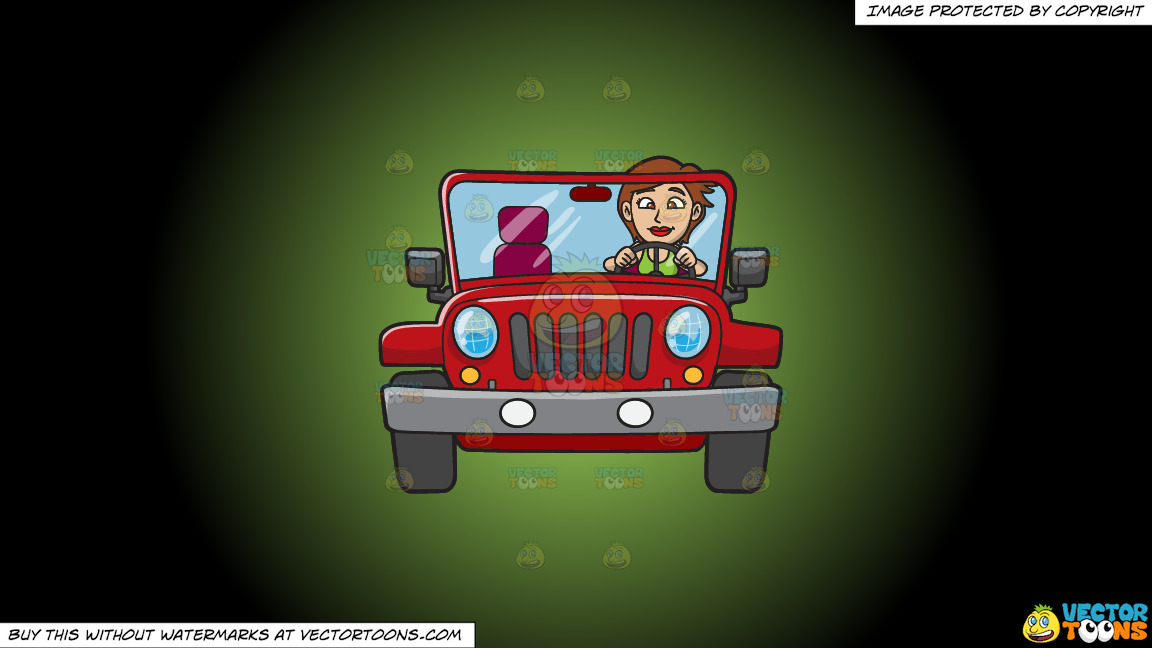 A Woman Driving A Rugged Red Jeep On A Green And Black Gradient Background thumbnail