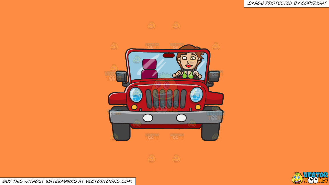 A Woman Driving A Rugged Red Jeep On A Solid Mango Orange Ff8c42 Background thumbnail