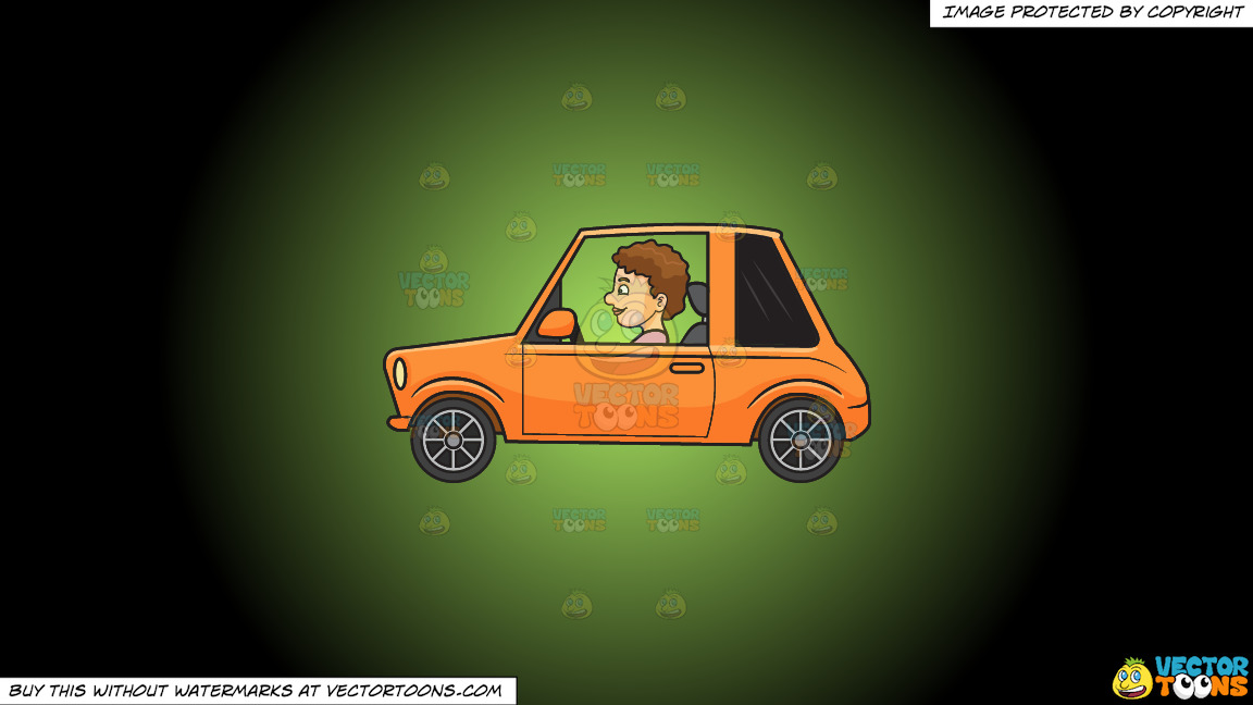 A Woman Driving A Small Car On A Green And Black Gradient Background thumbnail