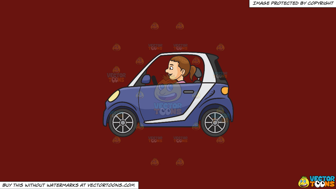 A Woman Driving A Smart Car On A Solid Maroon 69140e Background thumbnail