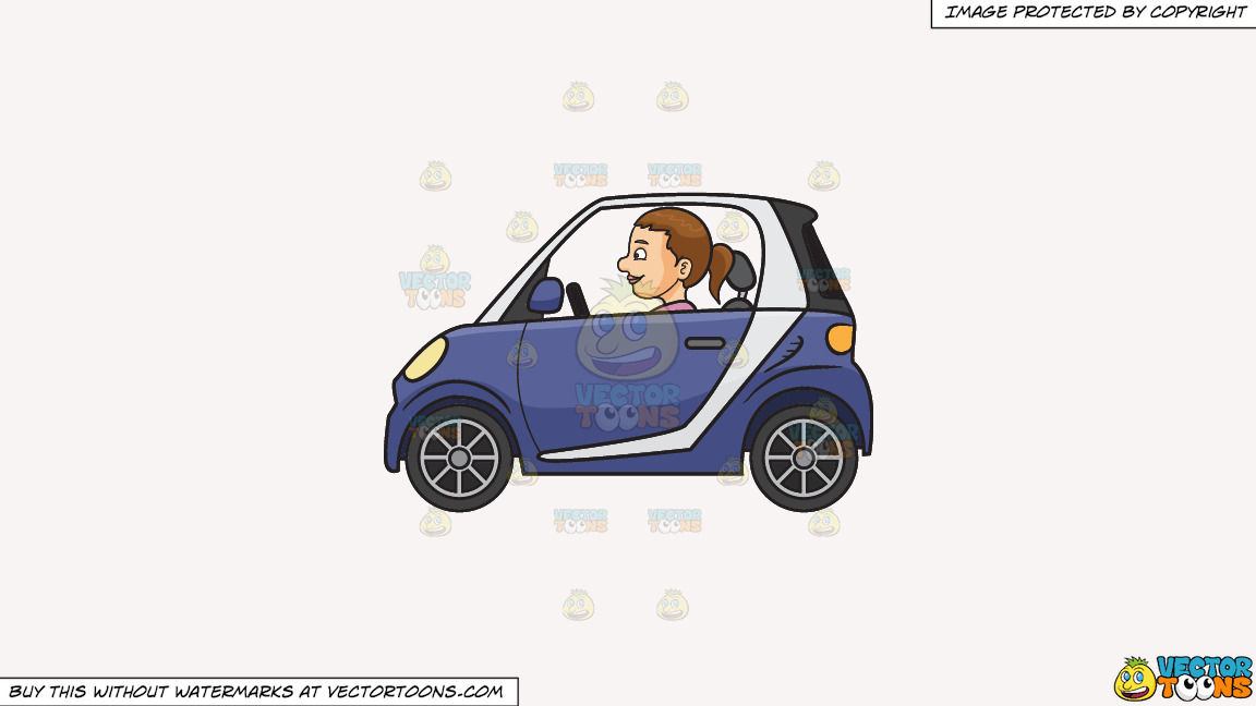 A Woman Driving A Smart Car On A Solid White Smoke F7f4f3 Background thumbnail