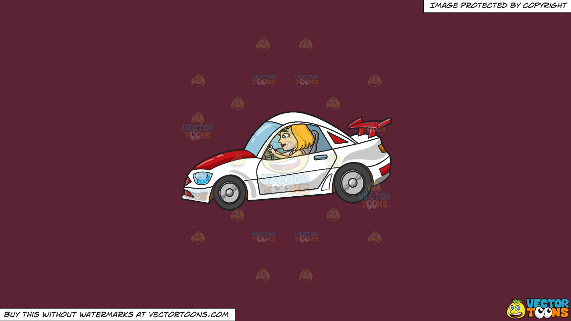 A Woman Driving A White Race Car On A Solid Red Wine 5b2333 Background thumbnail