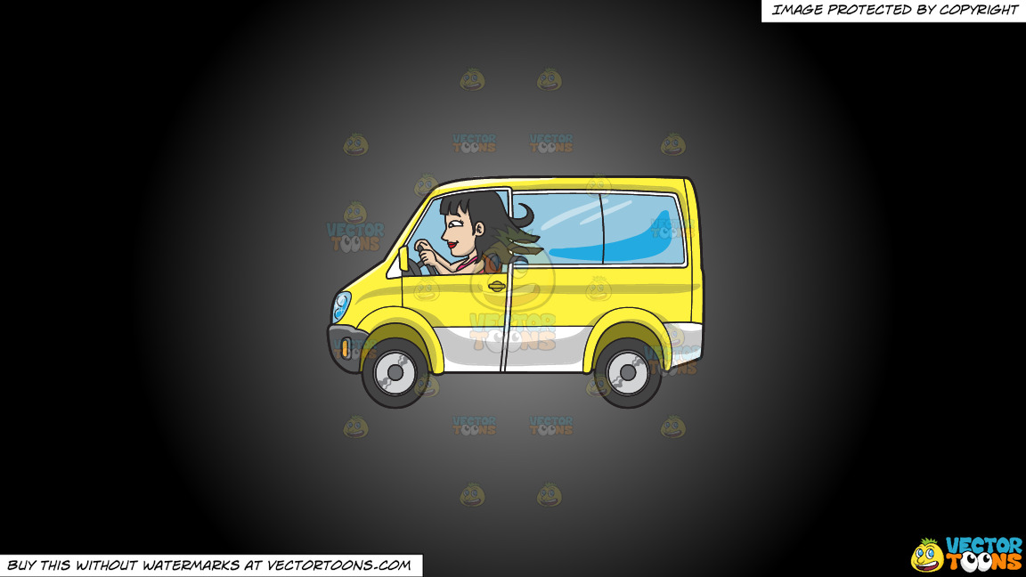 A Woman Driving A Yellow Mini Van On A Grey And Black Gradient Background thumbnail