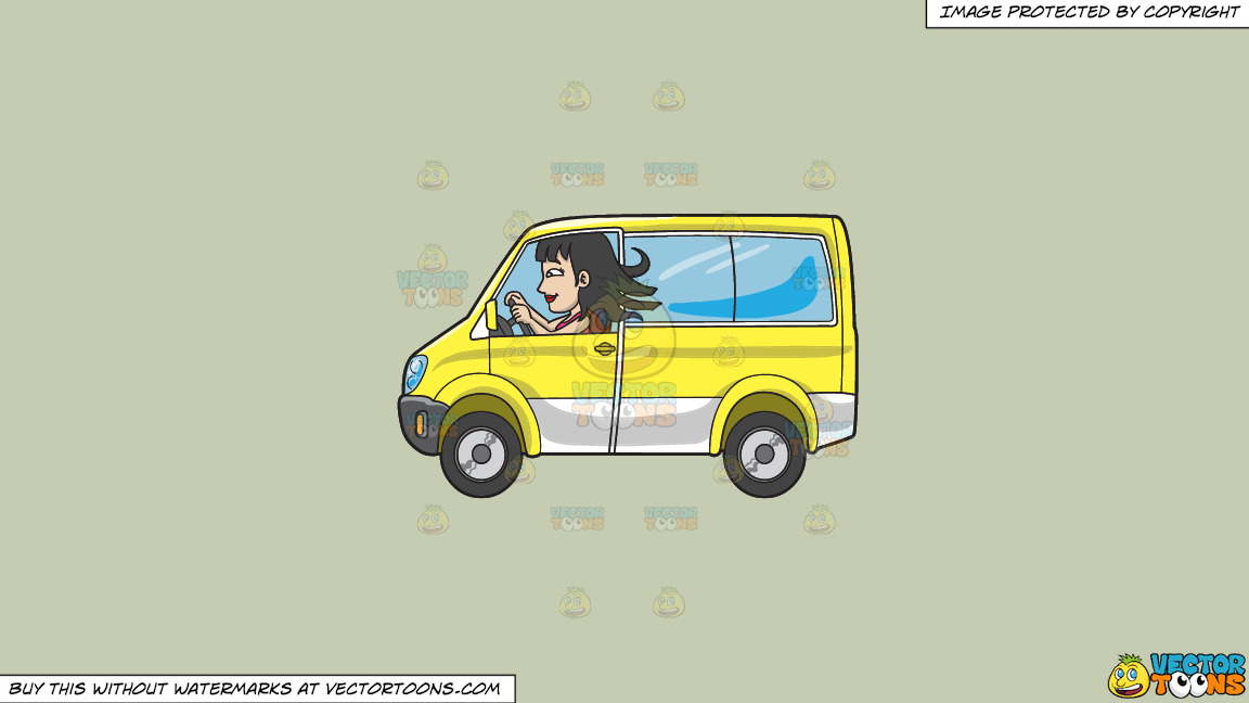 A Woman Driving A Yellow Mini Van On A Solid Pale Silver C6ccb2 Background thumbnail