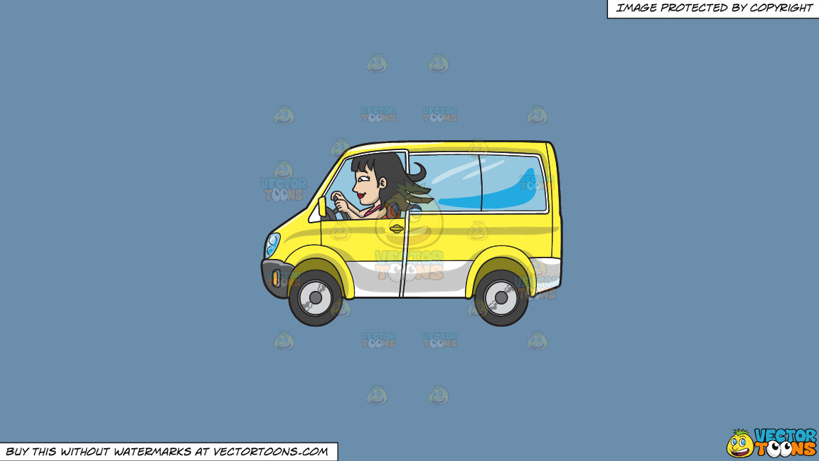 A Woman Driving A Yellow Mini Van On A Solid Shadow Blue 6c8ead Background thumbnail