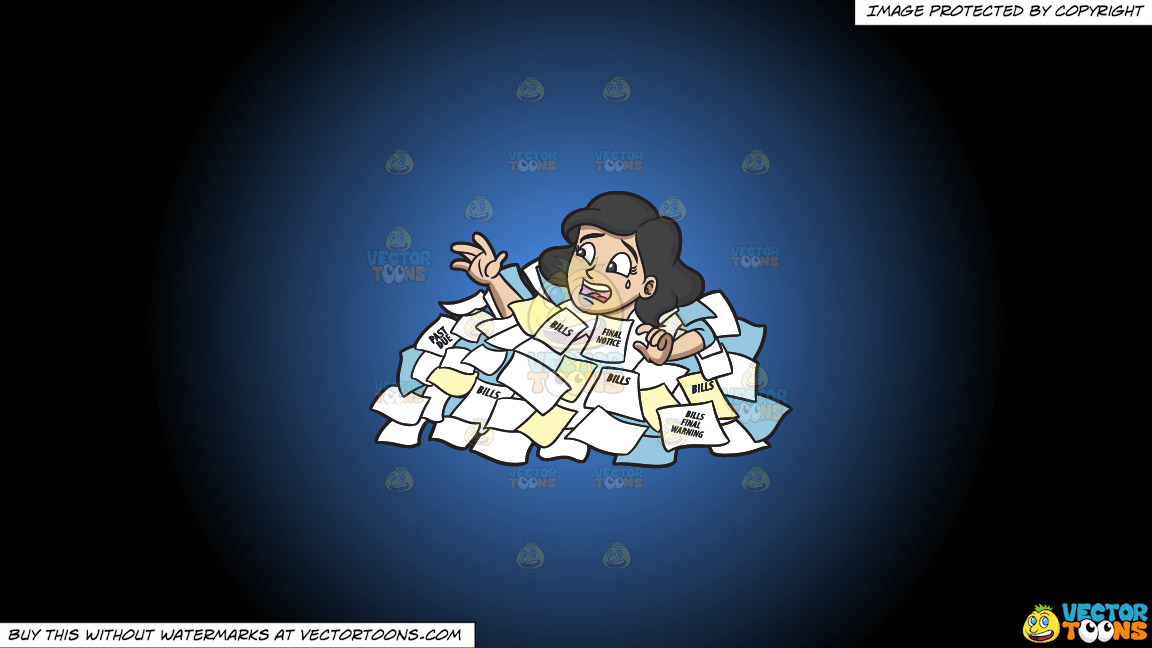 A Woman Drowning From A Sea Of Debt On A Blue And Black Gradient Background thumbnail