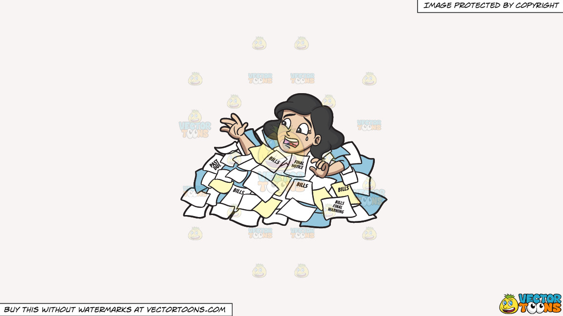 A Woman Drowning From A Sea Of Debt On A Solid White Smoke F7f4f3 Background thumbnail