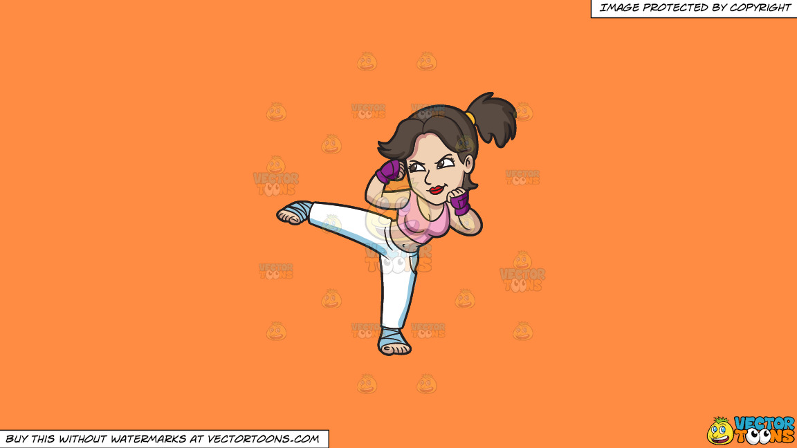 A Woman During Her Kickboxing Training On A Solid Mango Orange Ff8c42 Background thumbnail