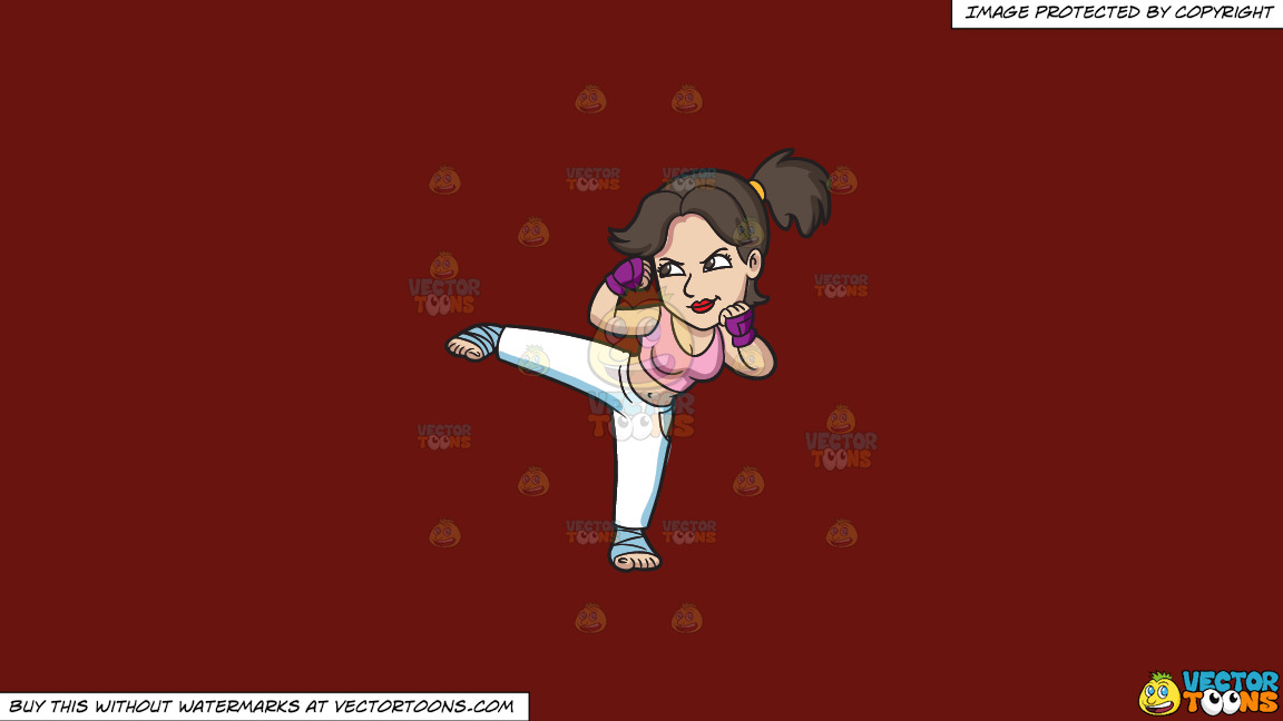 A Woman During Her Kickboxing Training On A Solid Maroon 69140e Background thumbnail