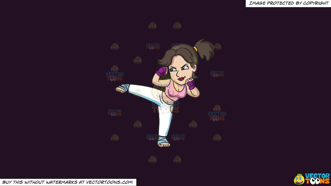 A Woman During Her Kickboxing Training On A Solid Purple Rasin 241023 Background thumbnail