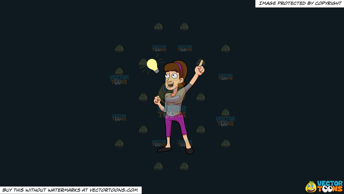 A Woman Ecstatic On Her Bright New Idea On A Solid Off Black 0f1a20 Background thumbnail