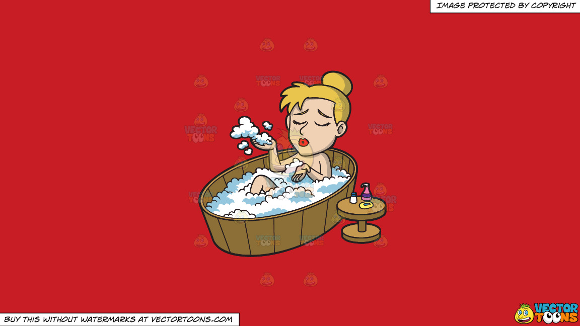 A Woman Enjoying A Warm Bubble Bath On A Solid Fire Engine Red C81d25 Background thumbnail