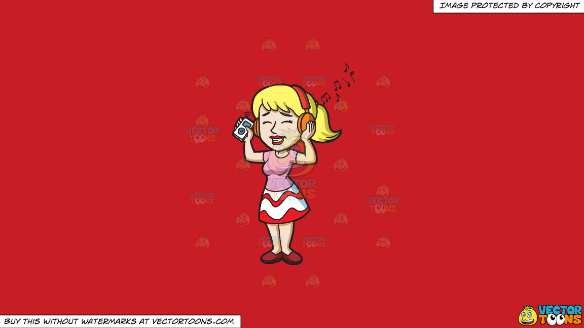 A Woman Enjoying Her Mp3 Playlist On A Solid Fire Engine Red C81d25 Background thumbnail