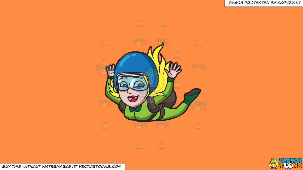 A Woman Enjoying Her Skydive On A Solid Mango Orange Ff8c42 Background thumbnail