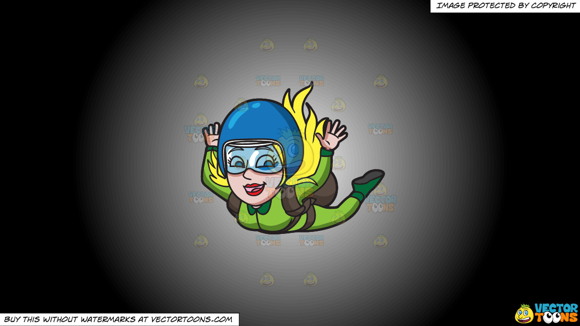 A Woman Enjoying Her Skydive On A White And Black Gradient Background thumbnail