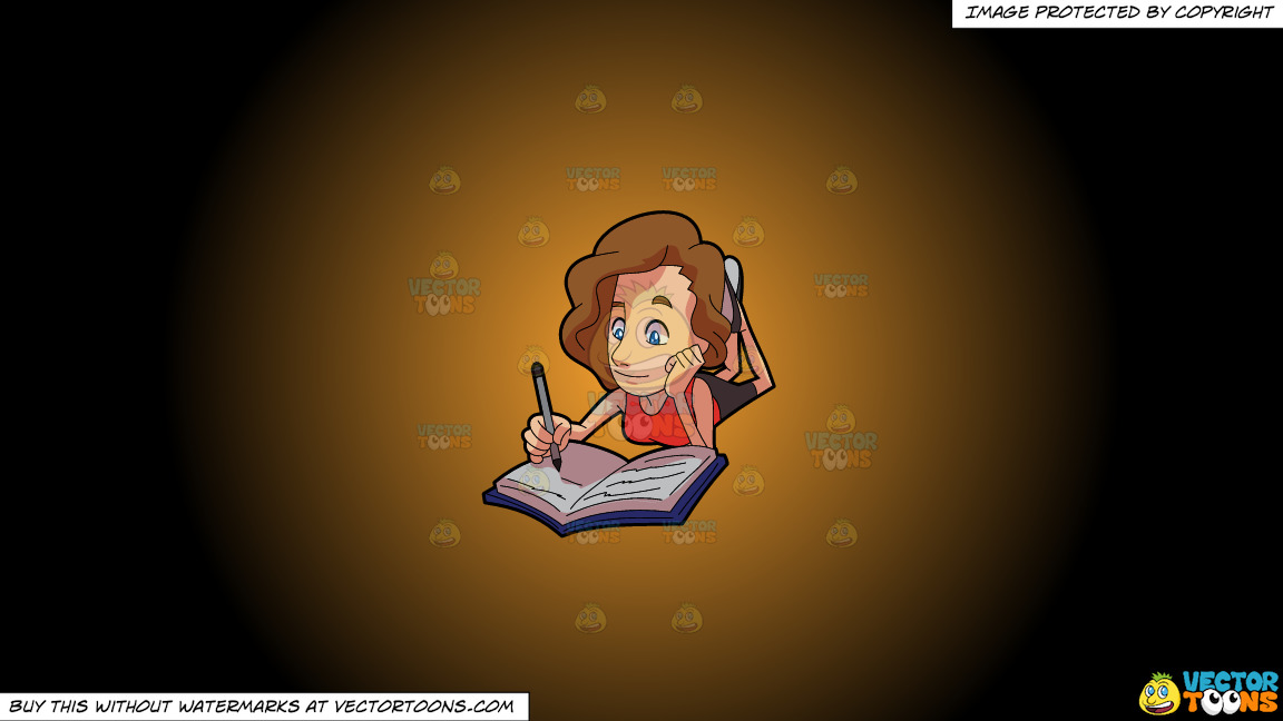 A Woman Enjoying The Scribbles On Her Notebook On A Orange And Black Gradient Background thumbnail