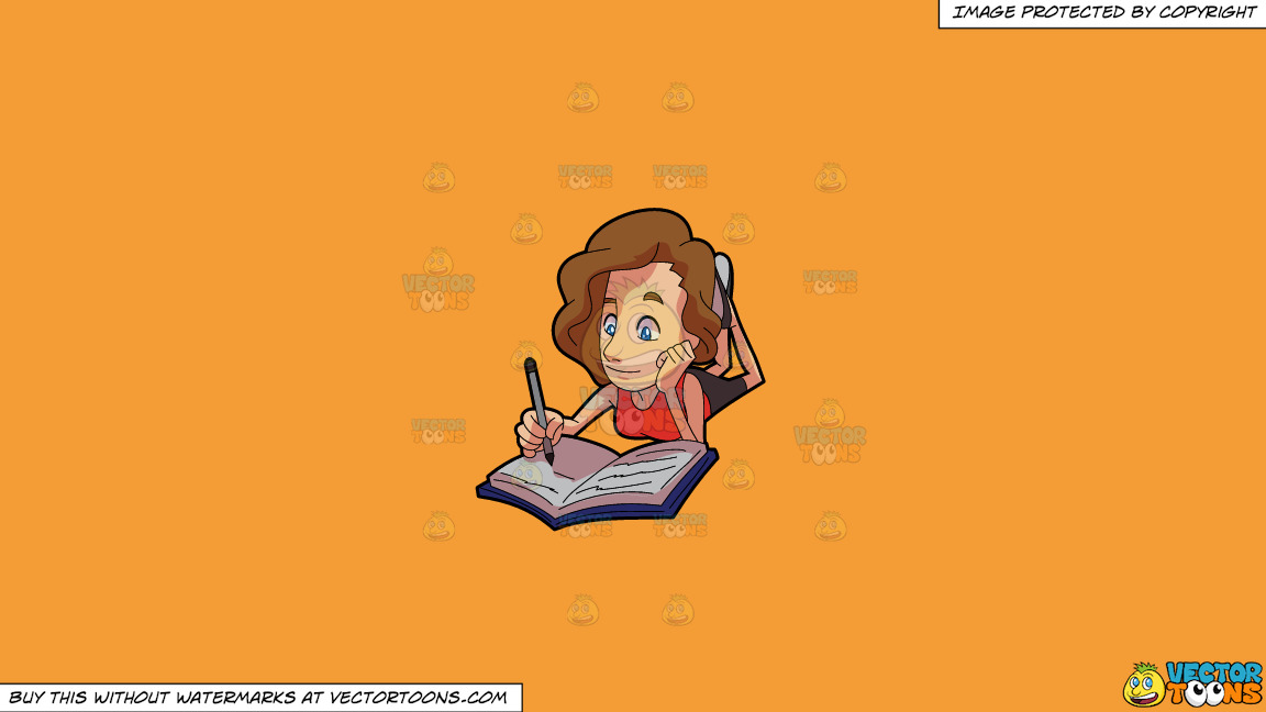 A Woman Enjoying The Scribbles On Her Notebook On A Solid Deep Saffron Gold F49d37 Background thumbnail