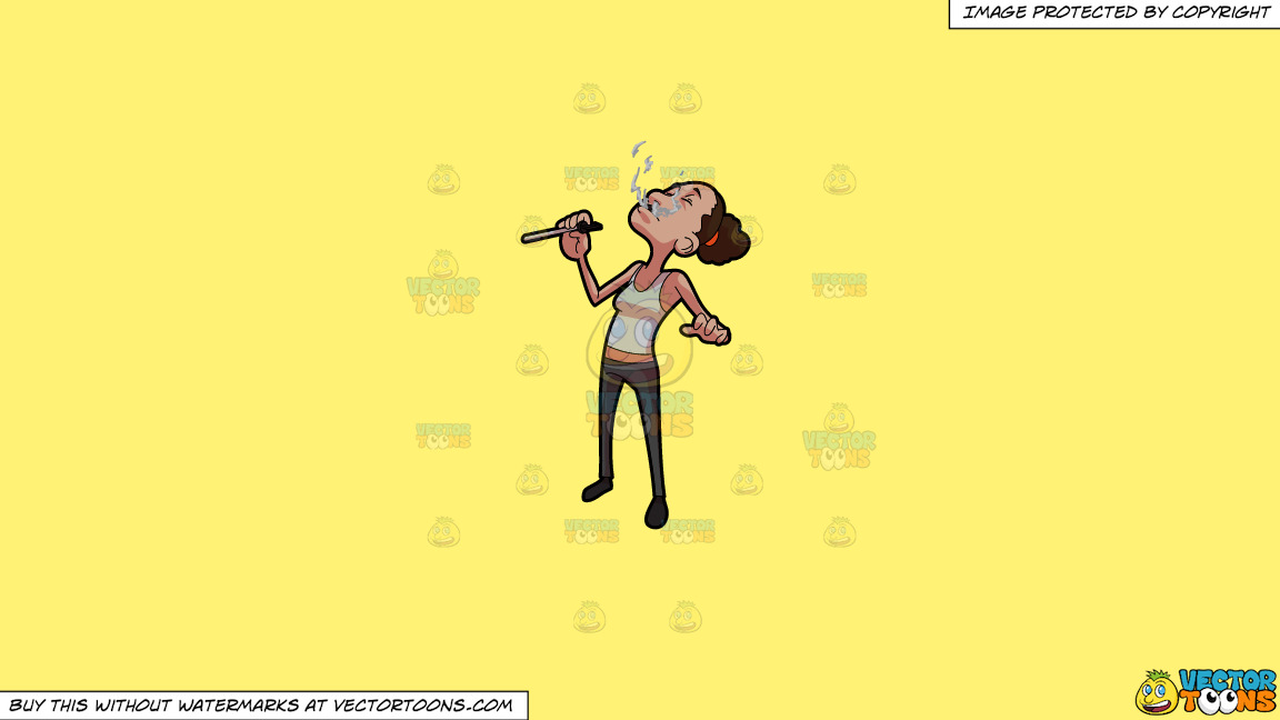 A Woman Exhaling Weed Vapor On A Solid Sunny Yellow Fff275 Background thumbnail