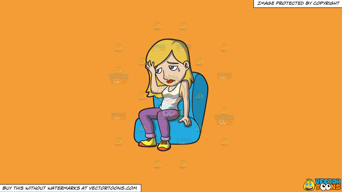 A Woman Feeling Depressed And Gloomy On A Solid Deep Saffron Gold F49d37 Background thumbnail