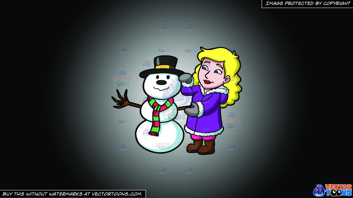 A Woman Fixing The Snowman Figure On A White And Black Gradient Background thumbnail