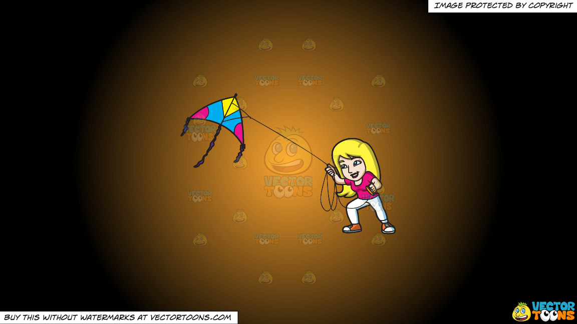 A Woman Flying A Big Kite On A Orange And Black Gradient Background thumbnail