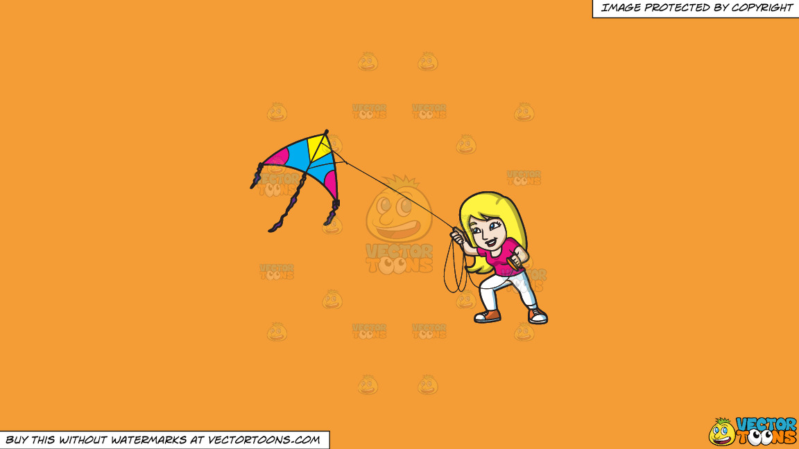 A Woman Flying A Big Kite On A Solid Deep Saffron Gold F49d37 Background thumbnail