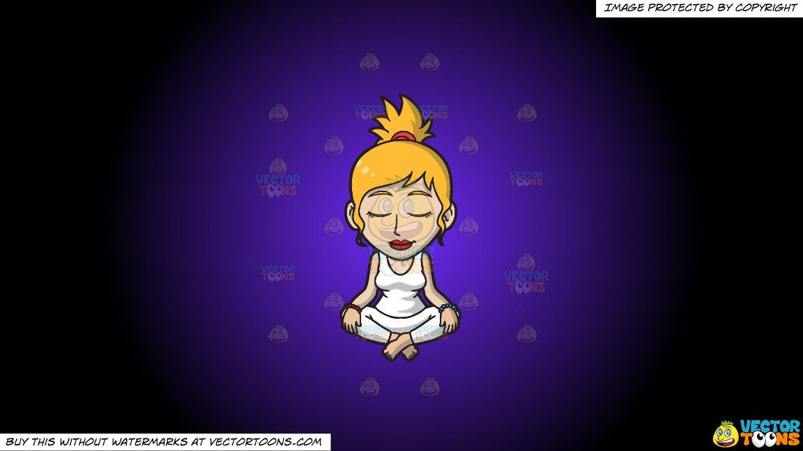 A Woman Focused On Her Meditation On A Purple And Black Gradient Background thumbnail