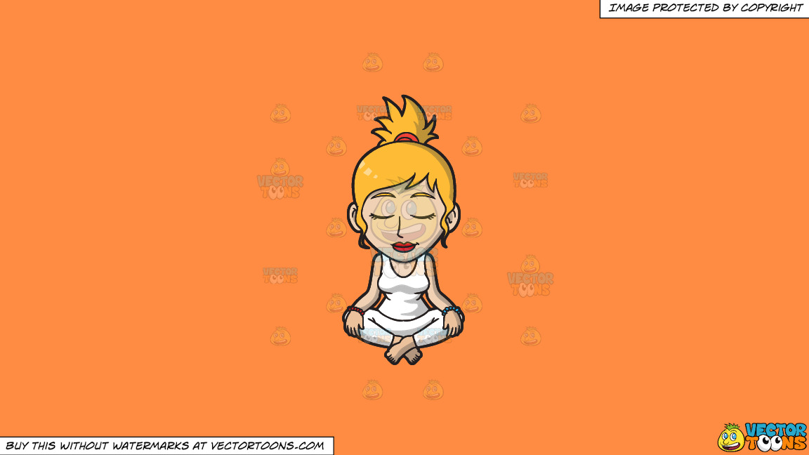 A Woman Focused On Her Meditation On A Solid Mango Orange Ff8c42 Background thumbnail