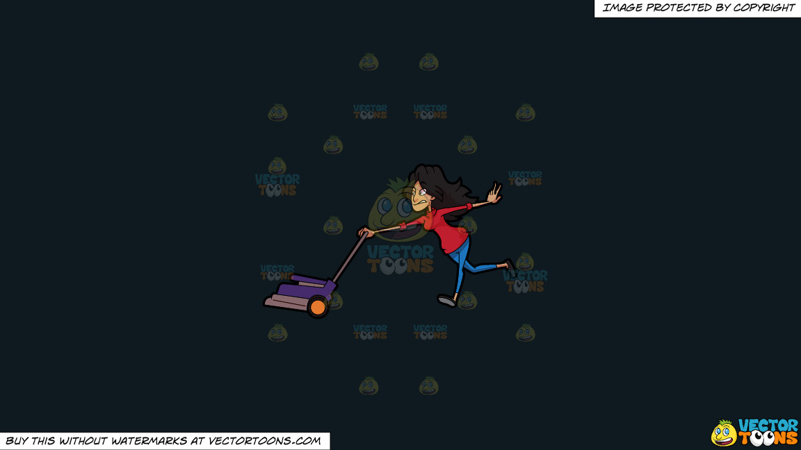 A Woman Gets Pulled By A Lawn Mower On A Solid Off Black 0f1a20 Background thumbnail
