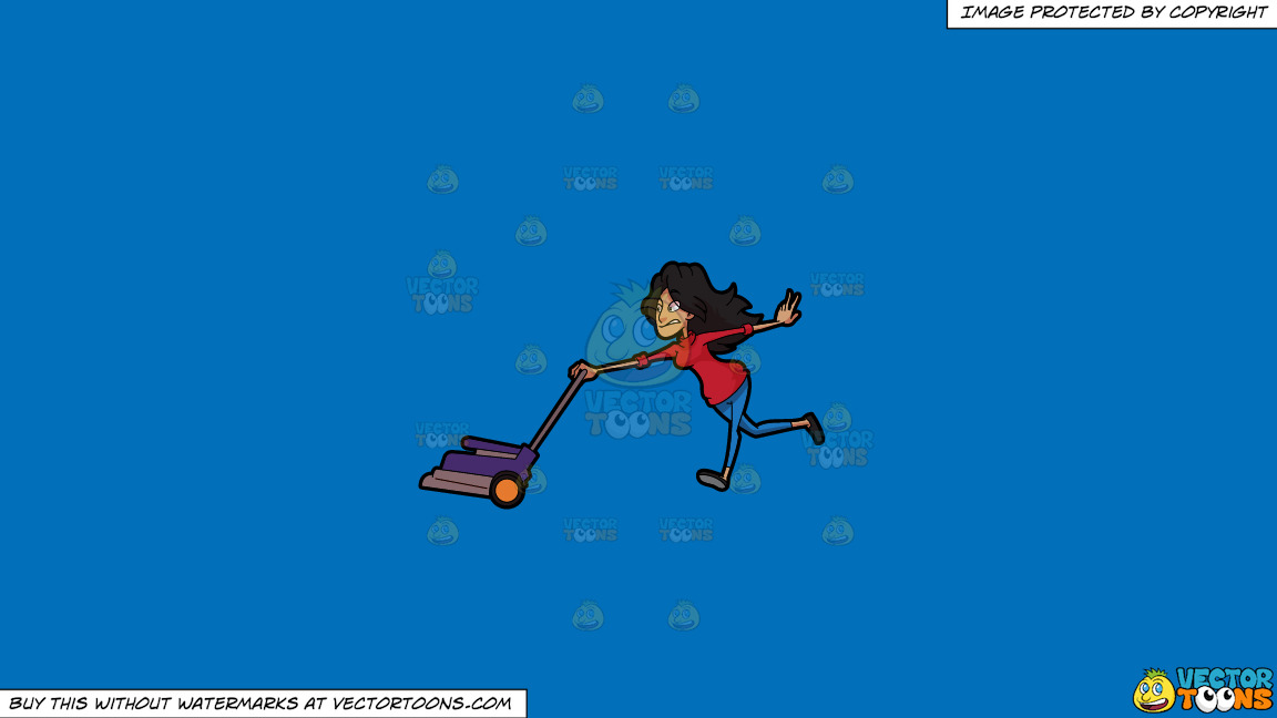 A Woman Gets Pulled By A Lawn Mower On A Solid Spanish Blue 016fb9 Background thumbnail