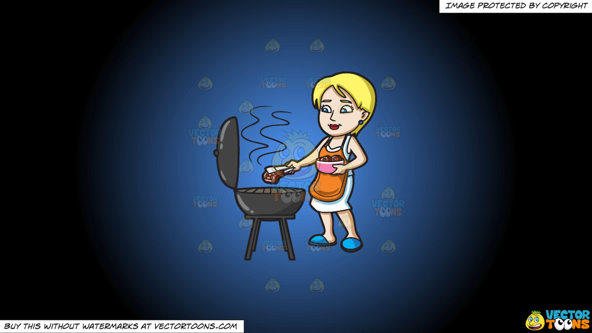 A Woman Gets The Steak That She Is Grilling On A Blue And Black Gradient Background thumbnail
