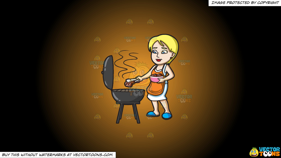 A Woman Gets The Steak That She Is Grilling On A Orange And Black Gradient Background thumbnail