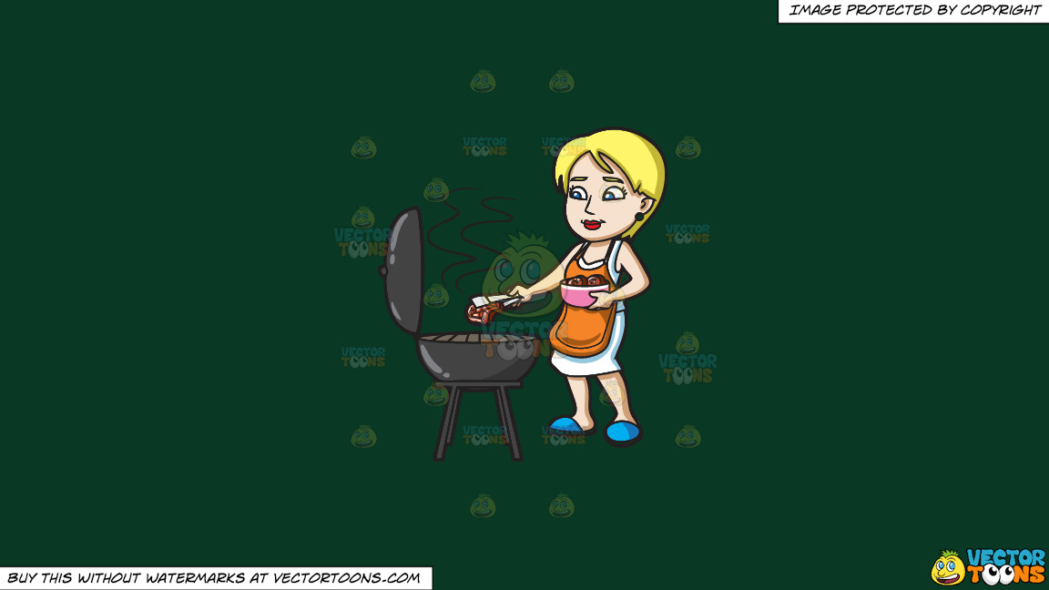 A Woman Gets The Steak That She Is Grilling On A Solid Dark Green 093824 Background thumbnail
