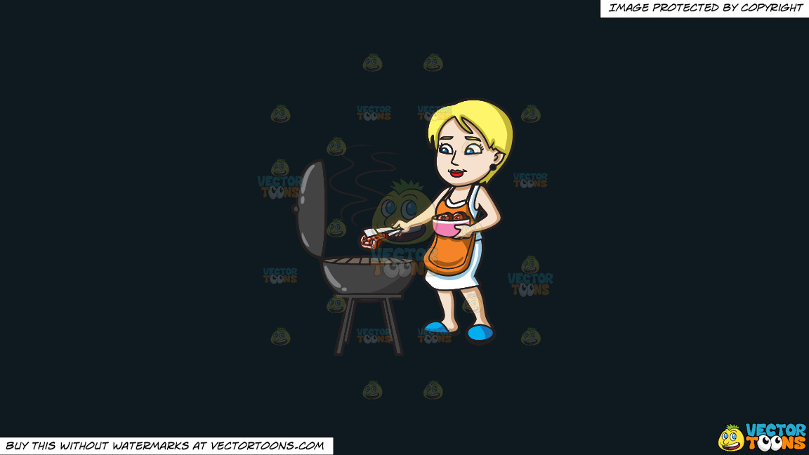 A Woman Gets The Steak That She Is Grilling On A Solid Off Black 0f1a20 Background thumbnail