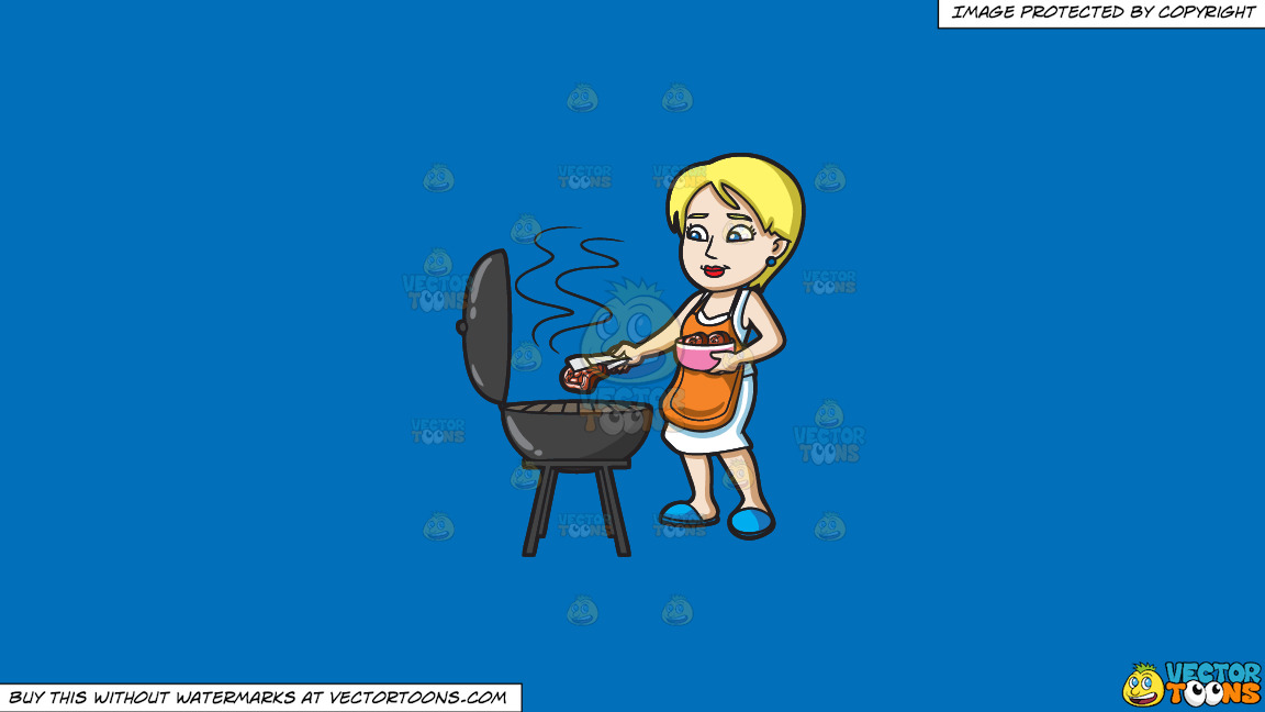 A Woman Gets The Steak That She Is Grilling On A Solid Spanish Blue 016fb9 Background thumbnail