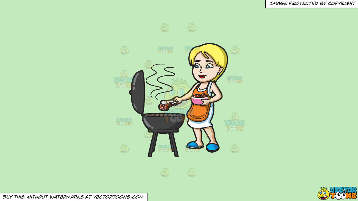 A Woman Gets The Steak That She Is Grilling On A Solid Tea Green C2eabd Background thumbnail