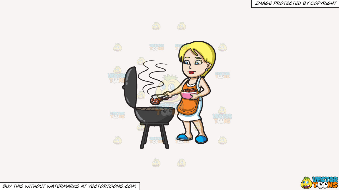A Woman Gets The Steak That She Is Grilling On A Solid White Smoke F7f4f3 Background thumbnail