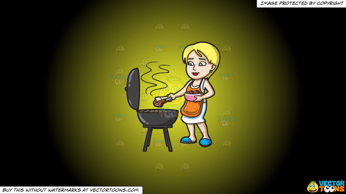 A Woman Gets The Steak That She Is Grilling On A Yellow And Black Gradient Background thumbnail