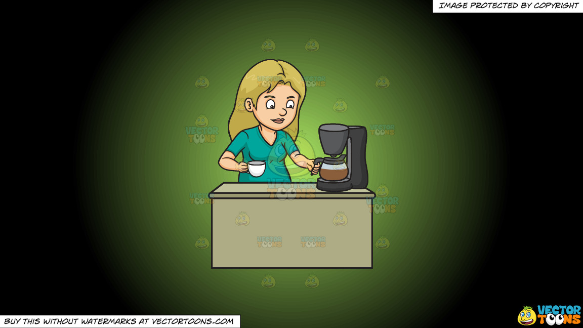 A Woman Getting A Cup Of Freshly Brewed Coffee On A Green And Black Gradient Background thumbnail
