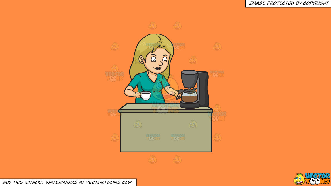 A Woman Getting A Cup Of Freshly Brewed Coffee On A Solid Mango Orange Ff8c42 Background thumbnail