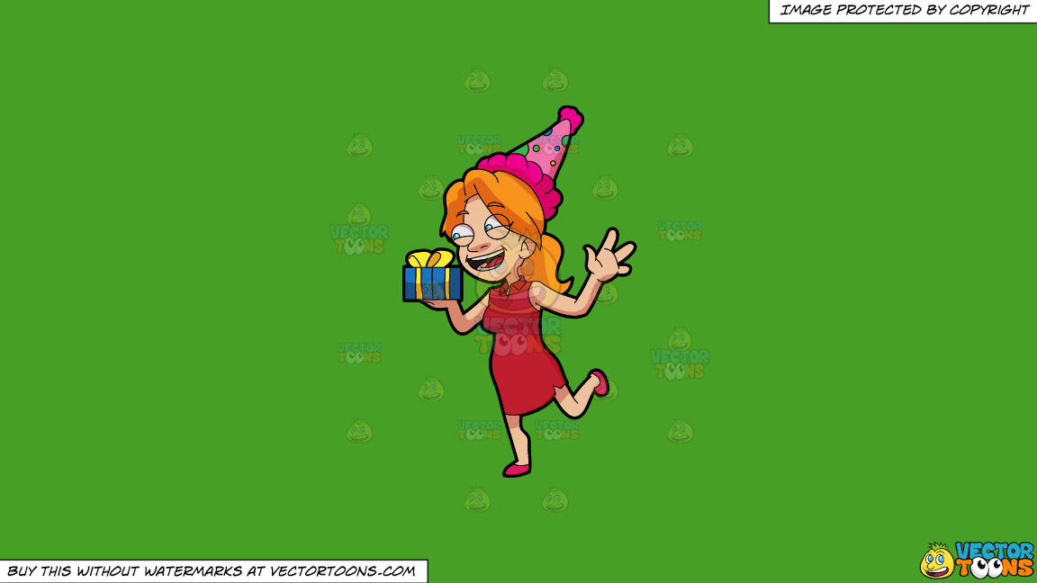 A Woman Getting Her Birthday Present On A Solid Kelly Green 47a025 Background thumbnail