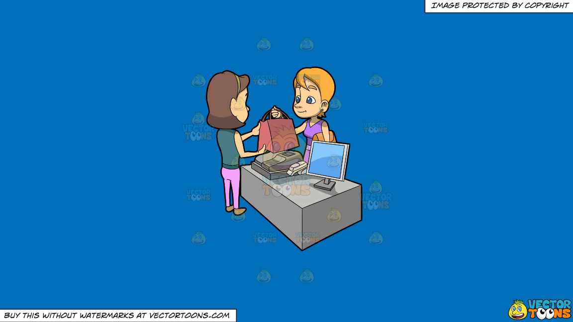 A Woman Getting The Bag With Items She Purchased Inside On A Solid Spanish Blue 016fb9 Background thumbnail
